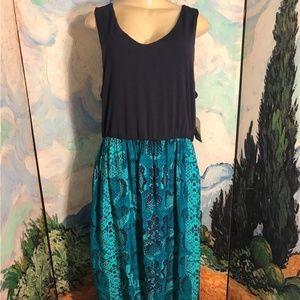 Faded Glory Plus Blue Artsy Print Tank Maxi Dress